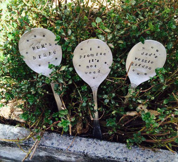 Vintage Spoon Garden Herb Plant Markers. by VintageCandy2u on Etsy