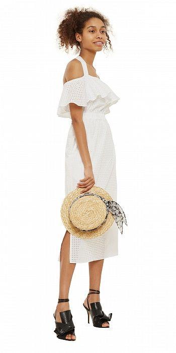 Платье миди с воланом на завязках