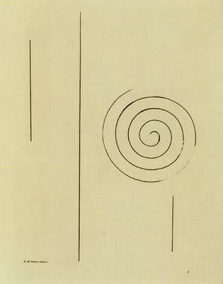 """Constantin Brancusi's Symbol of Joyce. Brancusi was a close friend of Joyce who sat for a number of sketches. The Symbol Of Joyce was commissioned by the founders of Paris's Black Sun Press as a frontispiece to Joyce's Tales Of Shem And Shaun - an early publication of sections of Finnegans Wake, the """"night piece"""" that Joyce began in Paris in the early 1920s. On seeing this picture Joyce's father remarked """"The boy seems to have changed a great deal."""""""