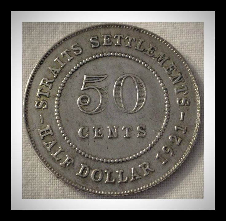 Straits Settlements 50 cents 1921 Condition F-VF.  The Straits Settlements was a British colony in southeast Asia consisting of the territories of Malacca, Dinding, Penang and Singapore on the Malay Peninsula, Labuan off the coast of Borneo, and Christmas and the Cocos Islands.  The colony was established in 1826 and dissolved in 1946.  For this and more Straits Settlements coins, please visit AlbaCoins.com #straitssettlements #coins