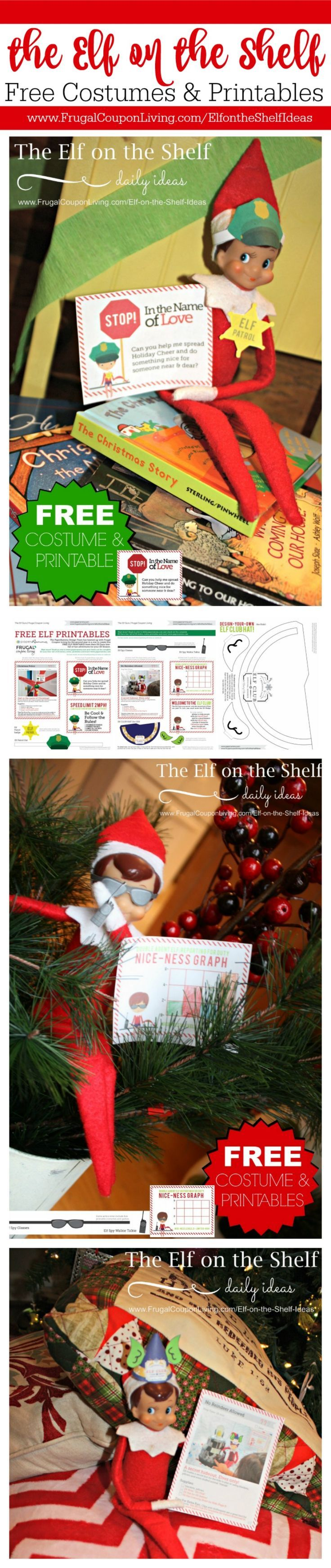100s of daily elf on the shelf ideas and printable costumes and notes on Frugal Coupon Living. New ideas added every day in November and December. Free Elf Notes too!