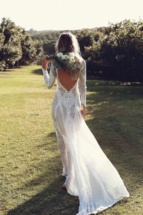Beautiful boho bride #love #wedding #gown #bridal #lace #boho