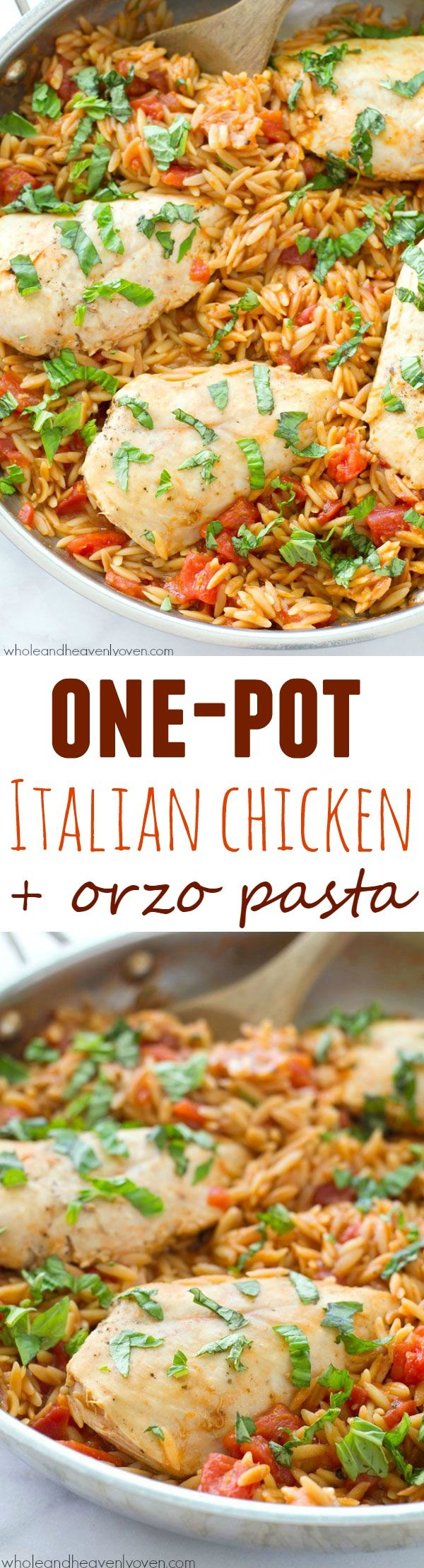 Ready in 30 minutes and made in only one pot, this Italian-style chicken and orzo pasta is total comfort food that anyone can make it's so easy! @WholeHeavenly (Baked Italian Chicken)