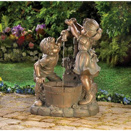 What's more refreshing than a cool drink on a hot day? Beautiful bronze-look fountain shows two children at innocent play in the garden. Weathered finish adds instant antique appeal! Outdoor use only.