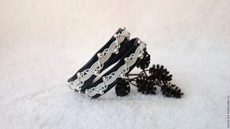 упить Скандинавский шведский кожаный браслет-намотка СЕСТРА КАТАРИНЫ - черный, шведский браслет