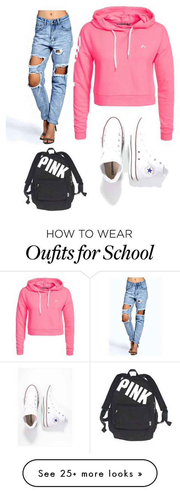 """School outfit 1"" by tchaskins on Polyvore featuring Only Play, Boohoo, Converse and Victoria's Secret"