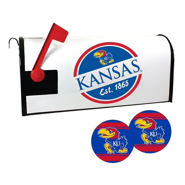Kansas Jayhawks Magnetic Mailbox Cover & Decal Set, Multicolor