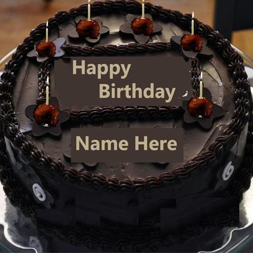 Write Name On Chocolate Happy Birthday Cake With Candlebirthday Cakes Namewrite