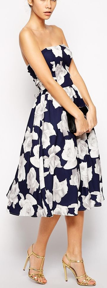 bandeau full midi dress