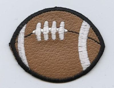 "Iron On Applique Embroidered Patch Vinyl Brown Football 2"" Sports Ball"