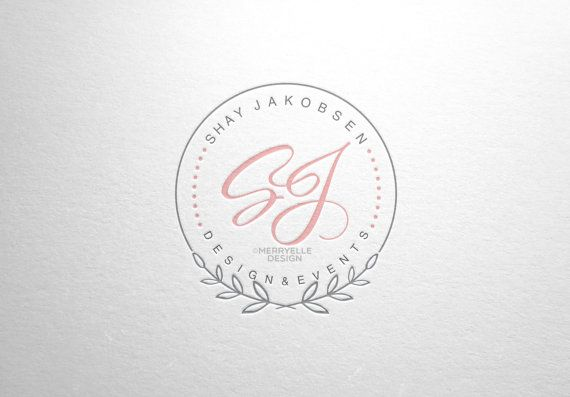 This listing is premade photography logo with laurels and initials, perfect for photographers, wedding or boutiques  You will receive: *.eps