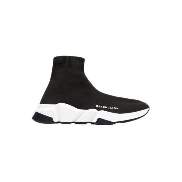 Balenciaga Women 30mm Speed Knit Sock Sneakers ($475) ❤ liked on Polyvore featuring shoes, sneakers, black, rubber sole sneakers, balenciaga, rubber sole shoes, balenciaga trainers and logo shoes