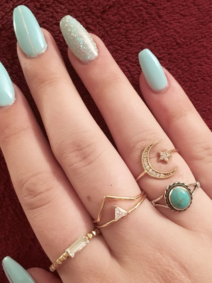 Image Result For Almond Acrylic Nails Green Acrylic Nails Blue Acrylic Nails Blue Glitter Nails