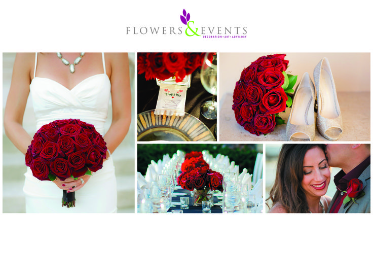 Wedding - Boda  Red Roses - Rosas Rojas Center Piece - Centros de Mesa Bouttoniere