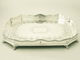 An Exceptional And Impressive Antique Victorian English Sterling Silver  Gallery Tray   Boxed; Part Of