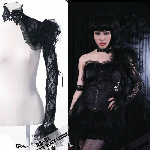 Sexy Black Lace One Long Sleeve Gothic Burlesque Clothing Shrugs SKU-71105022