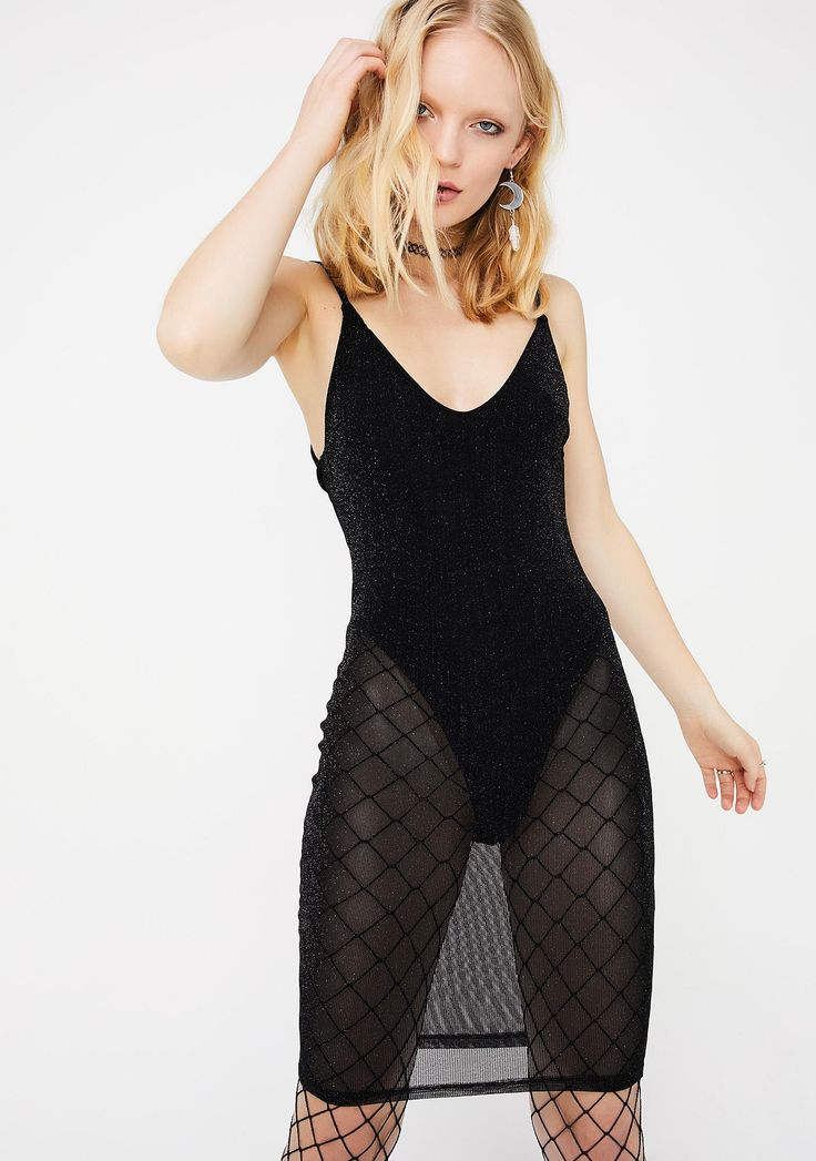 Okurrr Sheer Dress cuz you just grace 'em with your presence. This black sheer bodycon dress has a bodysuit underneath with adjustable spaghetti straps.