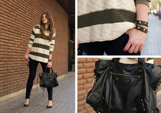 Striped sweater + oxblood shirt (by Macarena Gea) http://lookbook.nu/look/4752817-striped-sweater-oxblood-shirt