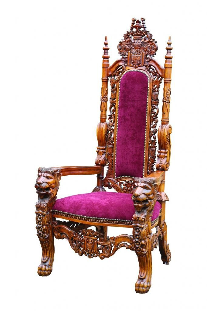 Basic Elegance Red Velvet Ornate Carved Kings Chair