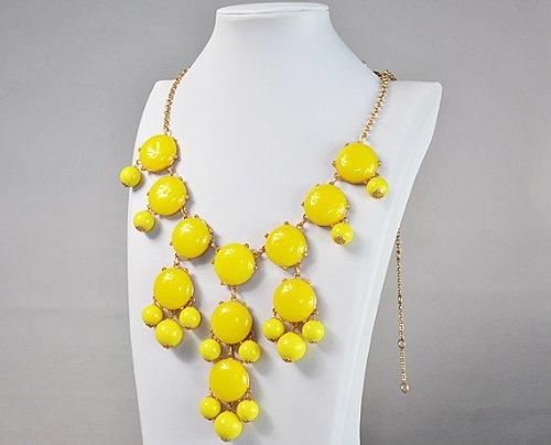 Bubble Statement Necklace, Chunky Bubble Necklace,Bubble Yellow Necklace(Fn0508-Yellow)