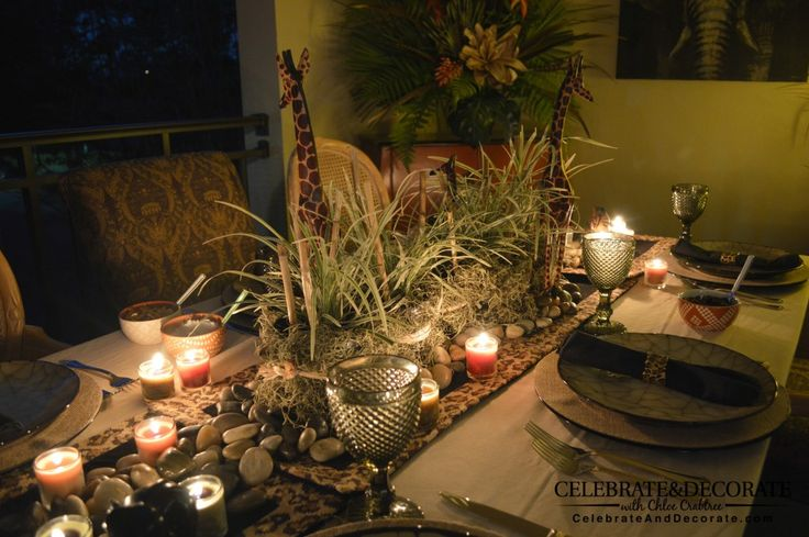 A safari dinner party for adults... From Celebrate & Decorate