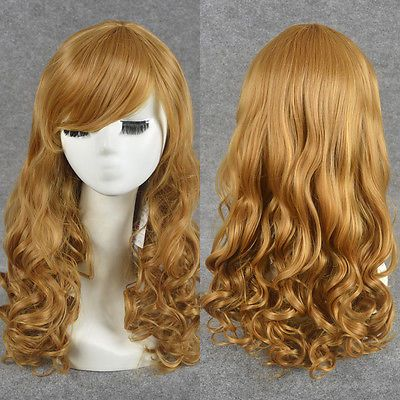 LONG CURLY STRAWBERRY BLONDE WIG FAB FRINGE REMY HAIR NO LACE FANCY DRESS WIG