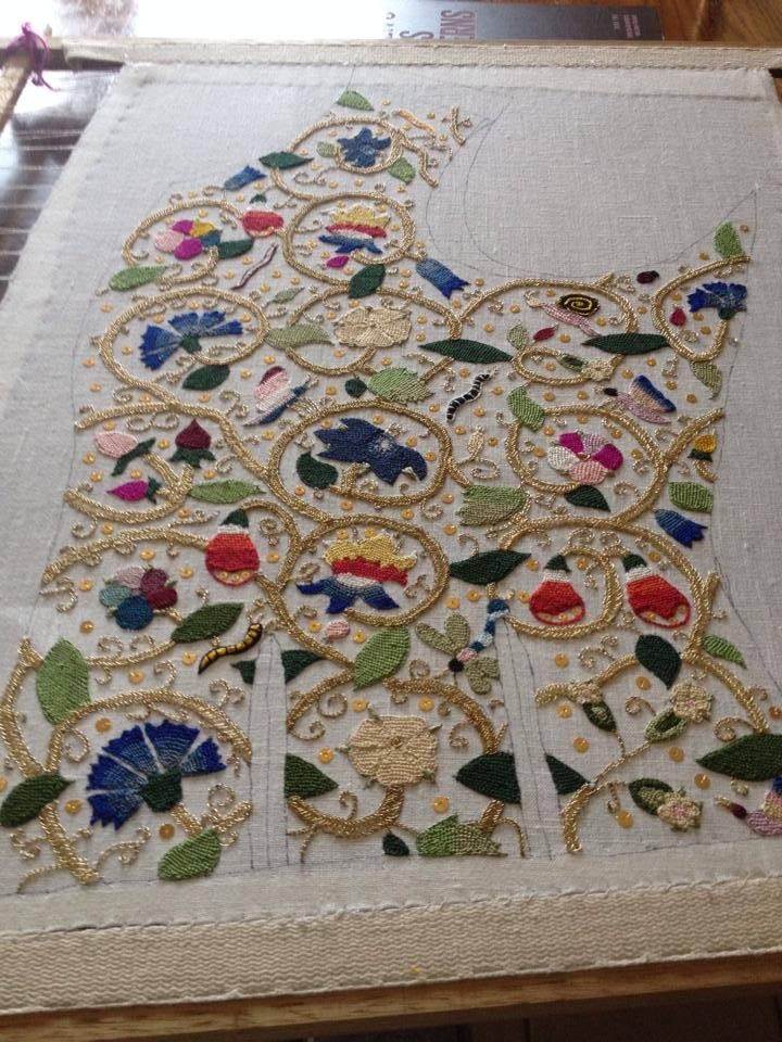 Another view of the front panel, embroidered by Heather Clark.