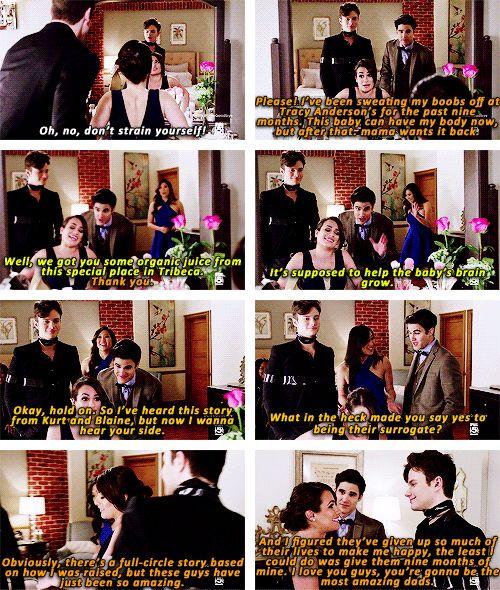 "Kurt, Rachel, Blaine and Tina in ""Dreams Come True"""