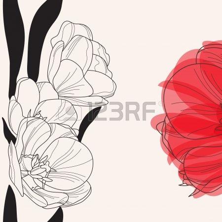 elegante invito floreale con mano decorativo disegnato fiori di tulipano photo