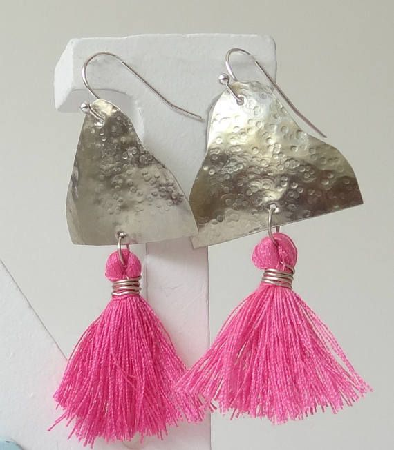 Silver Earrings Pink Earrings Hammered Silver Hammered
