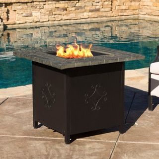 Tiburon Outdoor 30-inch Square Propane Fire Pit with Lava Rocks by Christopher Knight Home - Free Shipping Today - Overstock.com - 19671096 - Mobile