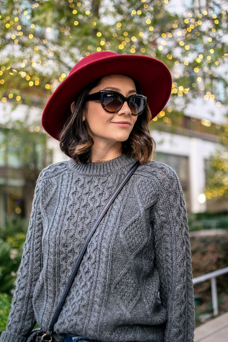 Cable knit sweater & red hat