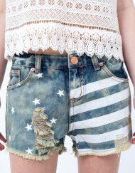 Pantaloni Scurti cu Steagul Americii