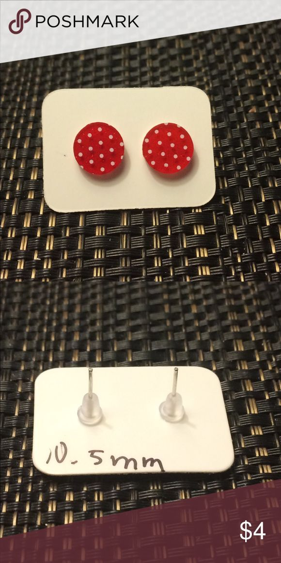 Red and White Sparkly Polka Dot Earrings 10.5mm red and white sparkly polka dot acrylic earrings **all sizes are approximate and may vary** Jewelry Earrings