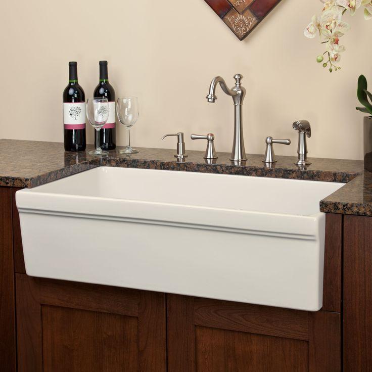 "36"" Cais Italian Fireclay Farmhouse Sink - White - Farmhouse Sinks - Kitchen Sinks - Kitchen"