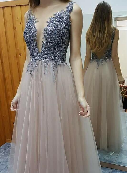 long tulle prom dresses, deep v-neck prom dresses, 2017 prom dresses with blue appliques, unique prom dresses 2017, long prom dresses, dresses for women, dresses for prom, new arrival prom dresses, high quality prom dresses