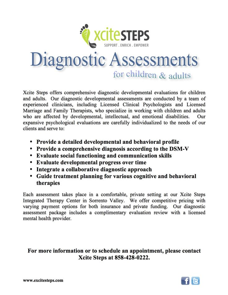Diagnostic Assessments at Excite Steps Xcite Steps Offerings