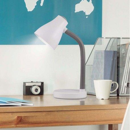 Flexo de la colección Toddy fabricado en acrilico, con diseño de estilo moderno y disponible en varias combinaciones de color: blanco y lila, blanco y azul o blanco. Elige tu preferido. Perfecto para iluminar la mesa de tu dormitorio.