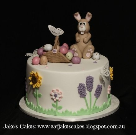 Easter Bunny and flower cake