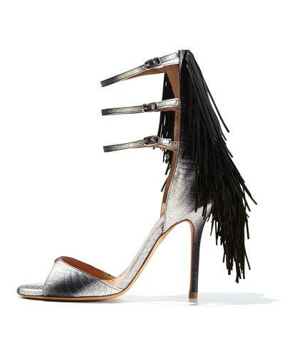 Alexa WagnerAurinia Snake Triple-Strap Fringe Sandal - just love fringe!