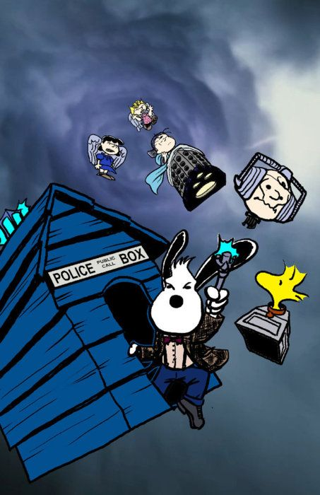 This has M.J. written all over it. Peanuts characters drawn as Dr. Who characters. I love both of them <3