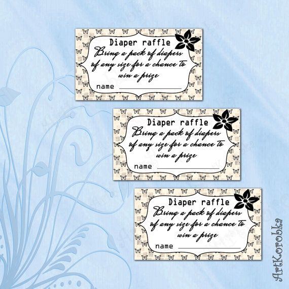 Printable Diaper Raffle Tickets  Butterfly Light by Artkorobka