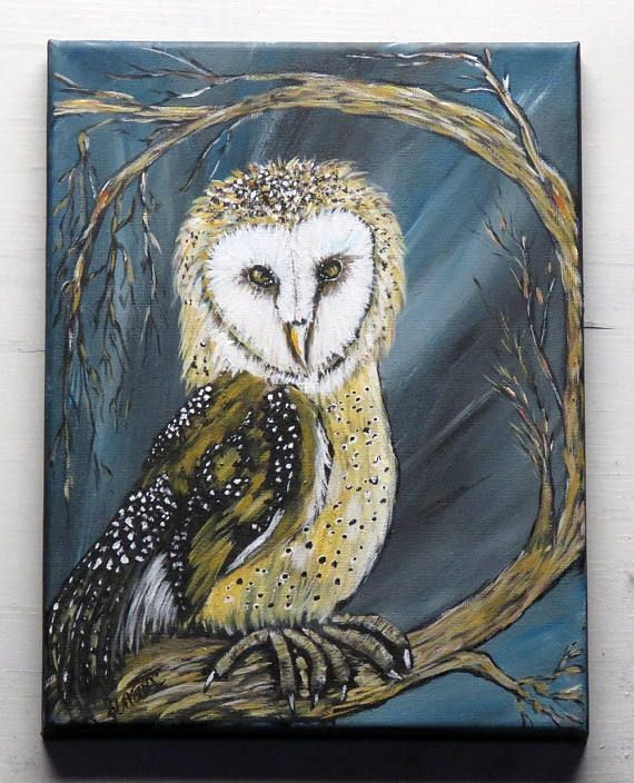 Barn owl painting handpainted original acrylic canvas wall art wildlife nature bird of prey native american home decor great gift for dad