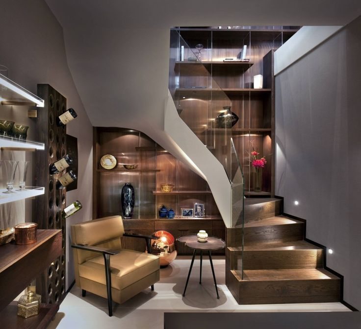 Contemporary Basement Design: Home Design: Stairwell Decorating Ideas And Floating Shelf