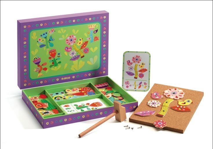 Djeco Tap Tap Garden The kit features 1 wooden hammer, 1 cork board, 39 wooden flower shapes, 40 pegs and 5 double-sided instruction cards to which your little one can refer to design new flowers.  Each colourful piece is made from soft wood and is pleasant to touch. Also, the Garden Tap Tap comes in a beautiful wooden solid box for easy storage.  Size (approx.): 30 x 22.5 x 3.5cm