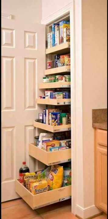 Pull out shelves for pantry. I think this would work perfectly in our pantry! Oh my gosh, I totally have to look into this!