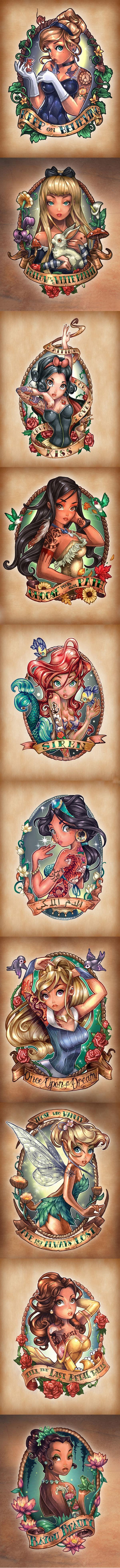 O ilustrador Tim Shumate criou estas belas ilustrações das princesas Disney em versões pin-ups tatuadas, estão tão perfeitas que podem ser tatuadas em você!