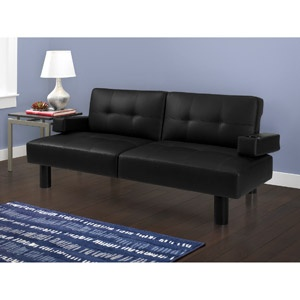 Mainstays Connectrix Futon, Black Faux Leather  For my Home Office Studio Lounge
