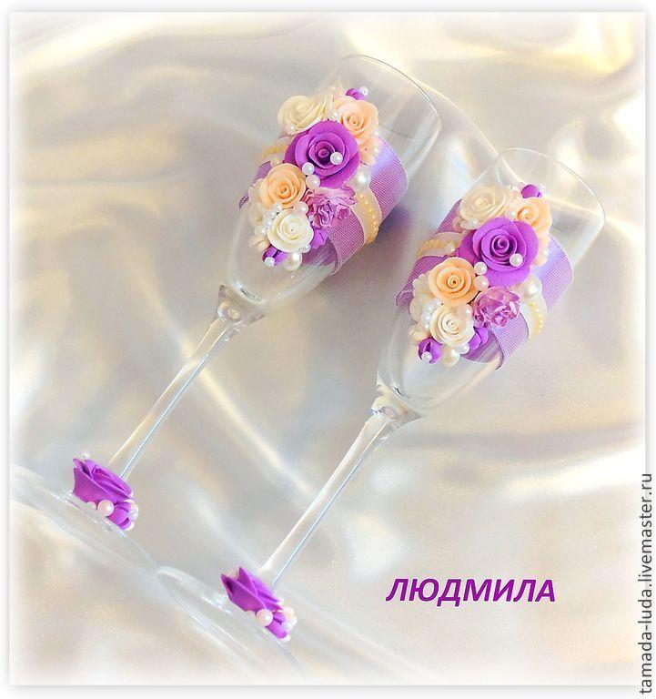 """Купить Свадебные бокалы """"Весенние цветы"""" - сиреневый, бокалы для свадьбы, бокалы для молодоженов, Бокалы"""