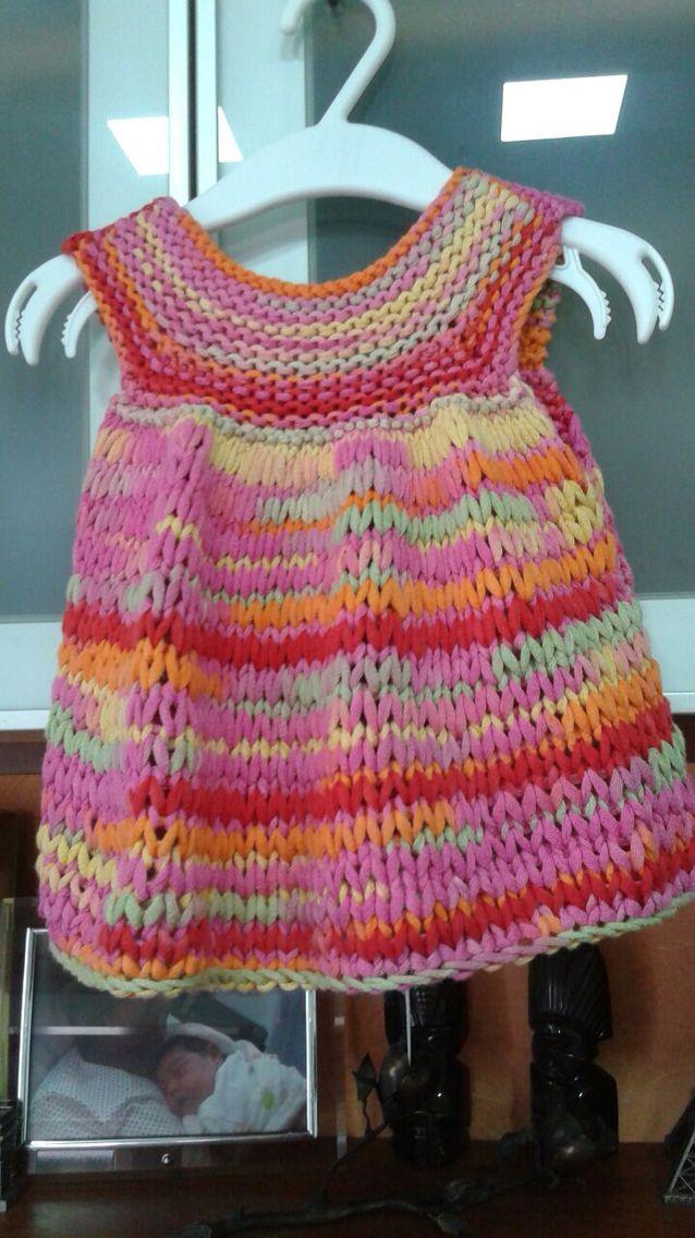Vestido bebe, 1 año, tejido a dos agujas y con cinta de algodón 100%, ÁGATA de lanes Mondial